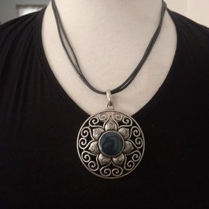 Large Silver And Enamel Pendant Necklace